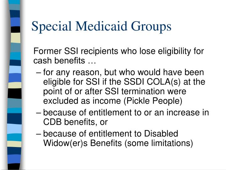 Special Medicaid Groups