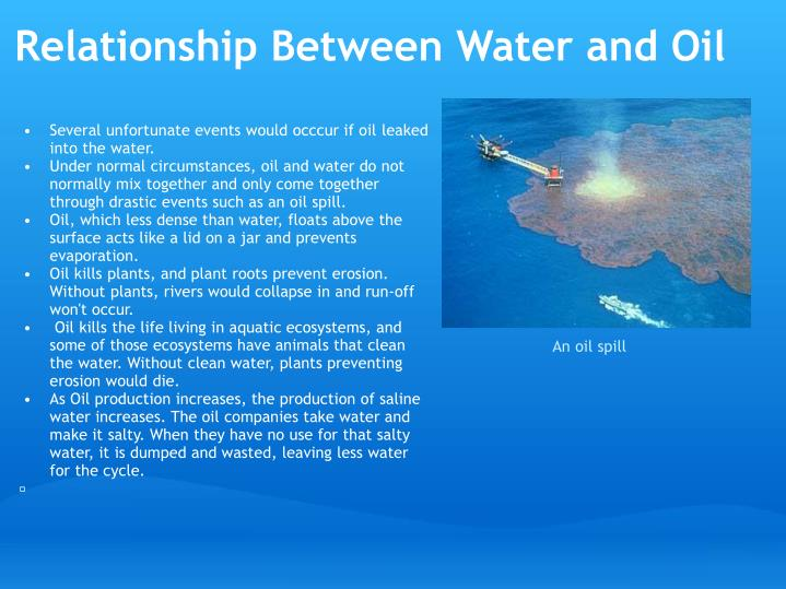 Relationship Between Water and Oil