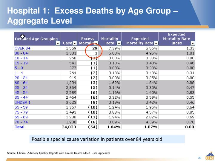 Hospital 1:  Excess Deaths by Age Group – Aggregate Level