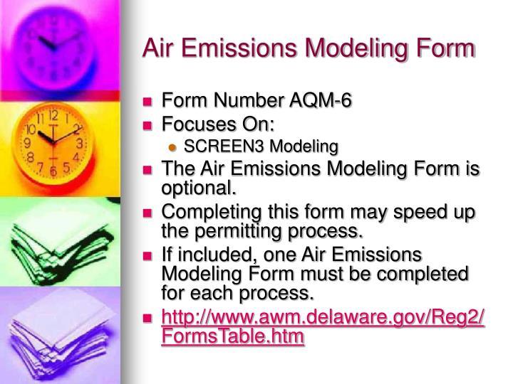Air Emissions Modeling Form