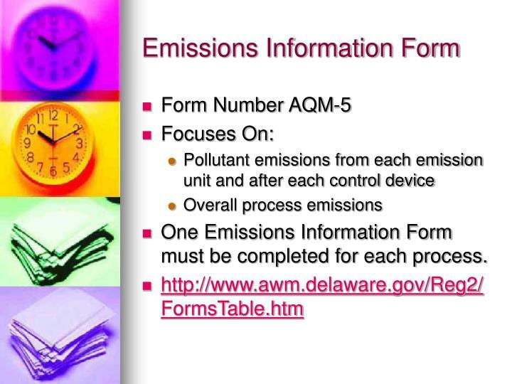 Emissions Information Form