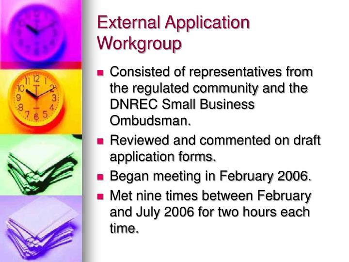 External Application Workgroup