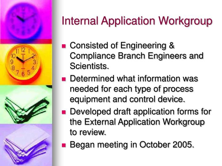 Internal Application Workgroup