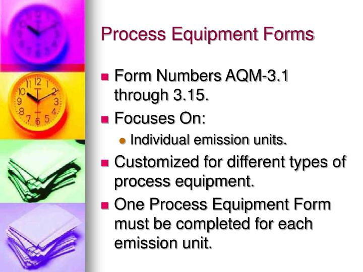 Process Equipment Forms