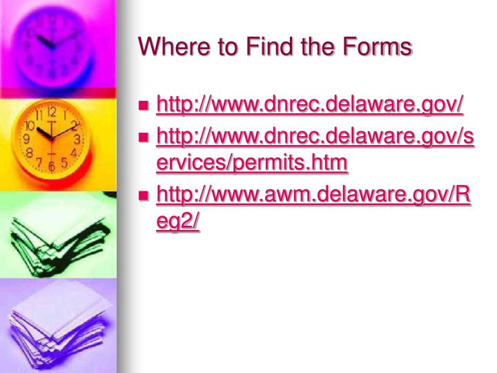 Where to Find the Forms