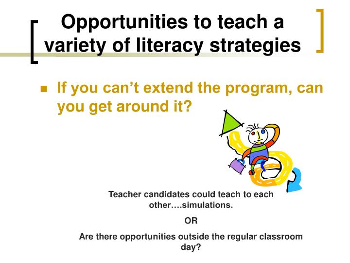 Opportunities to teach a variety of literacy strategies