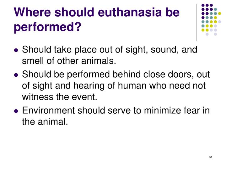 Where should euthanasia be performed?