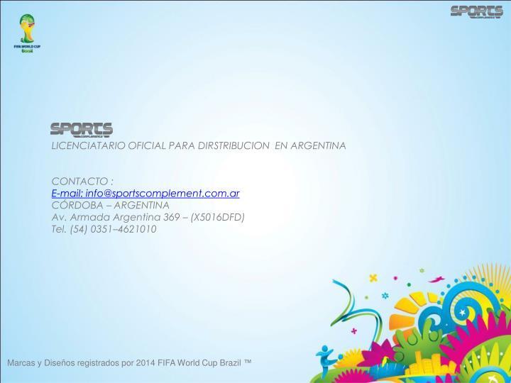 LICENCIATARIO OFICIAL PARA DIRSTRIBUCION  EN ARGENTINA