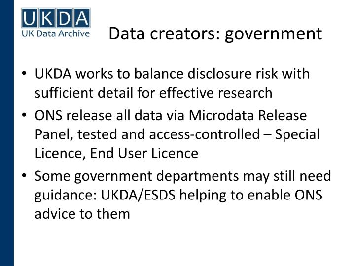 Data creators: government