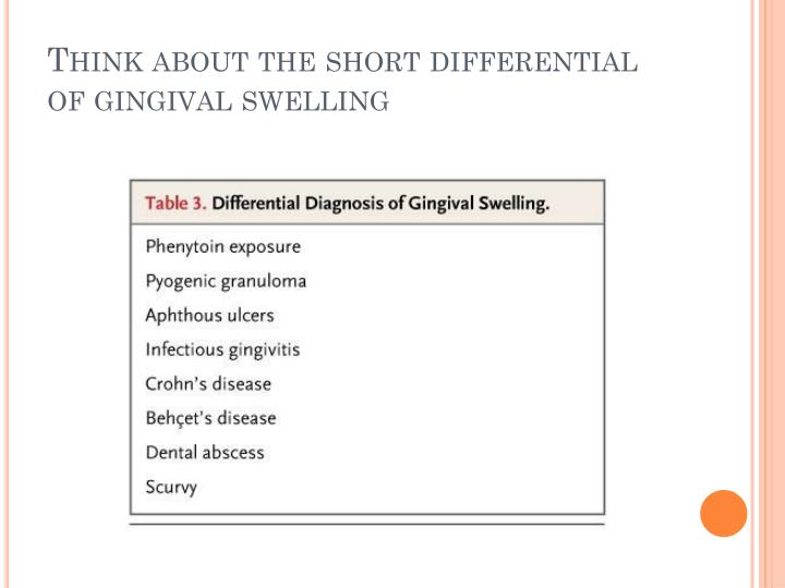 Think about the short differential of gingival swelling