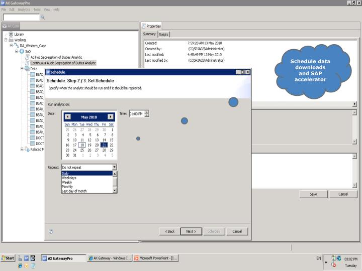 Schedule data downloads and SAP accelerator