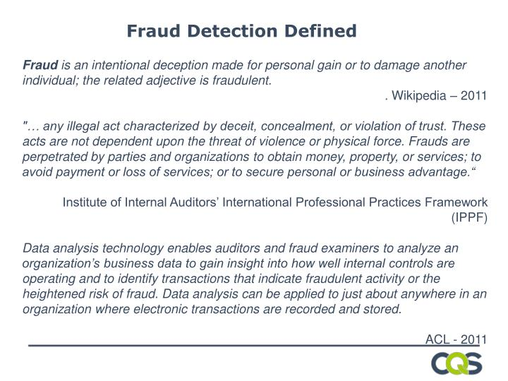 Fraud Detection Defined