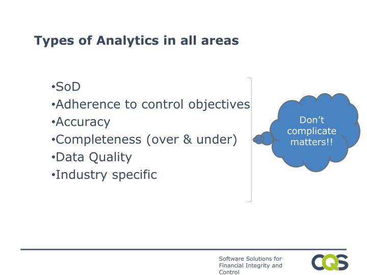 Types of Analytics in all areas