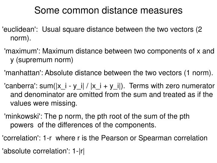 Some common distance measures