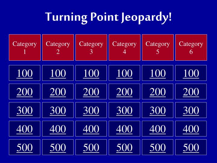 ppt turning point jeopardy powerpoint presentation id 3124228. Black Bedroom Furniture Sets. Home Design Ideas
