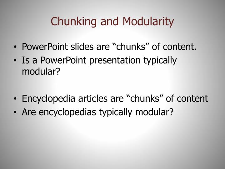Chunking and Modularity