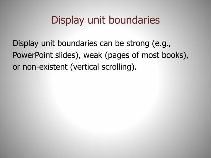 Display unit boundaries