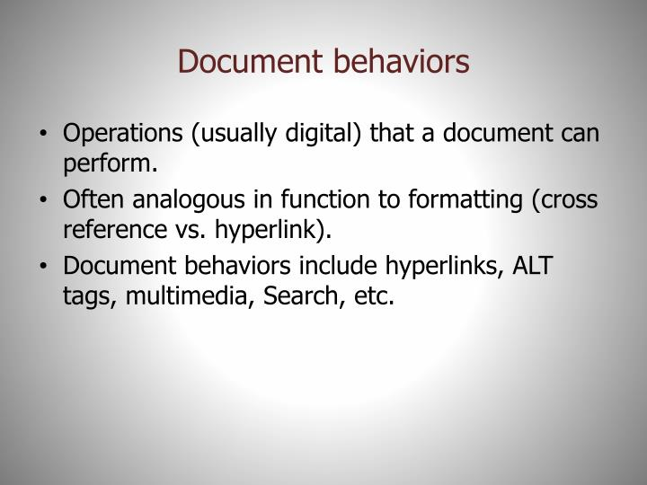 Document behaviors