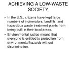 achieving a low waste society