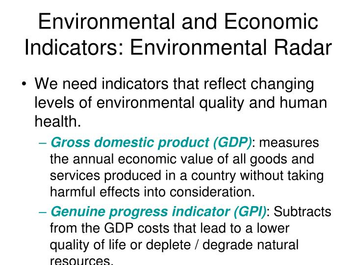 Environmental and Economic Indicators: Environmental Radar