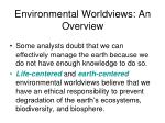 environmental worldviews an overview