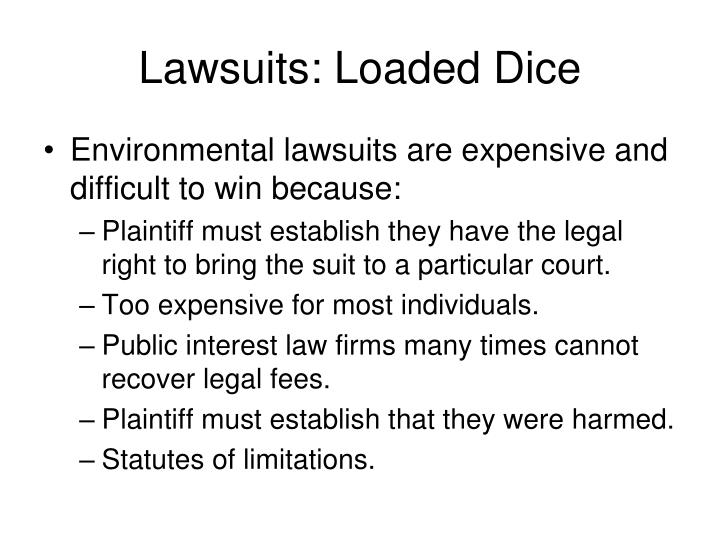 Lawsuits: Loaded Dice