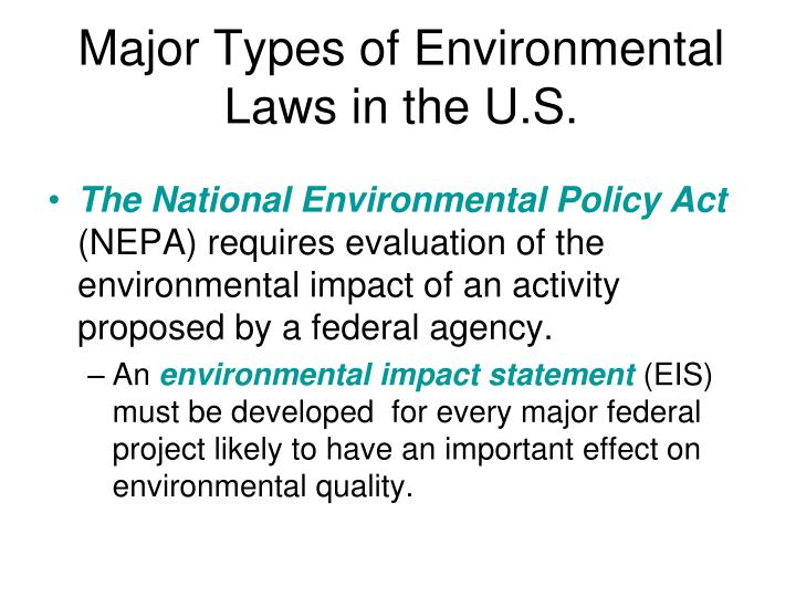 Major Types of Environmental Laws in the U.S.