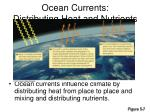 ocean currents distributing heat and nutrients