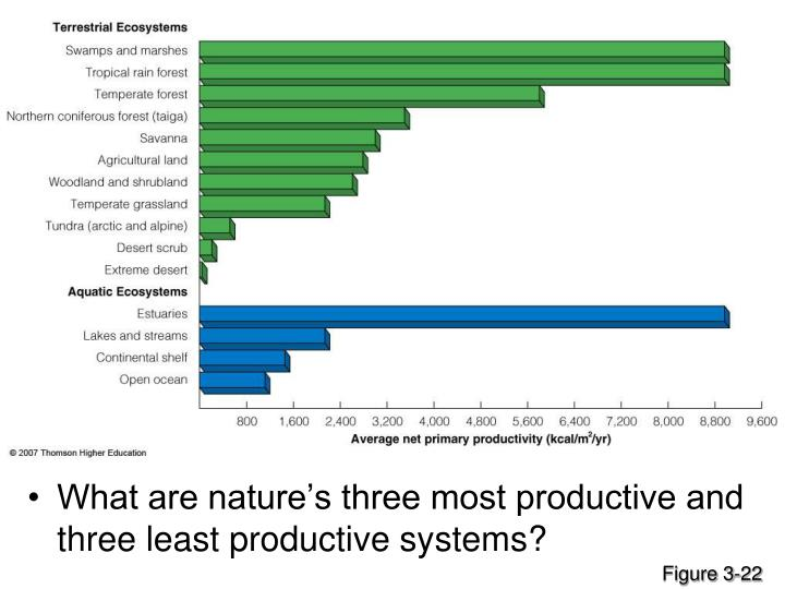 What are nature's three most productive and three least productive systems?