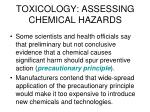 toxicology assessing chemical hazards2