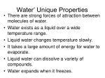water unique properties