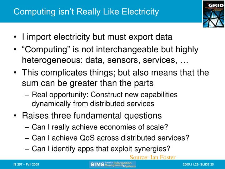 Computing isn't Really Like Electricity