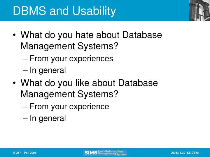 DBMS and Usability