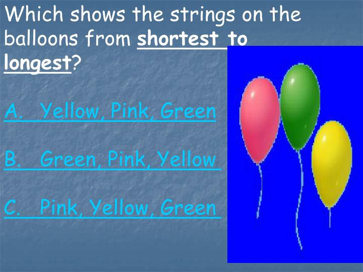 Which shows the strings on the balloons from