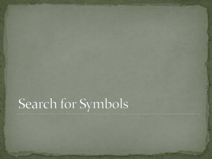 Search for Symbols