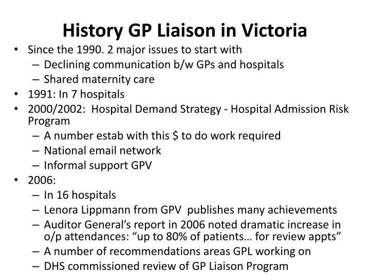 History GP Liaison in Victoria