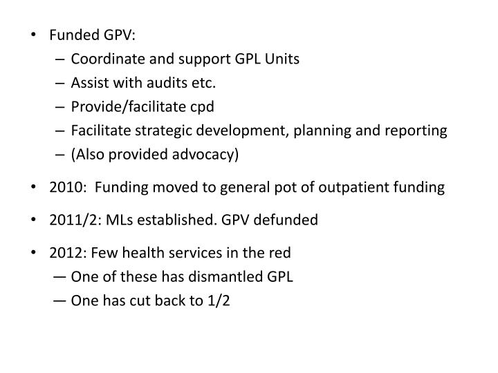 Funded GPV: