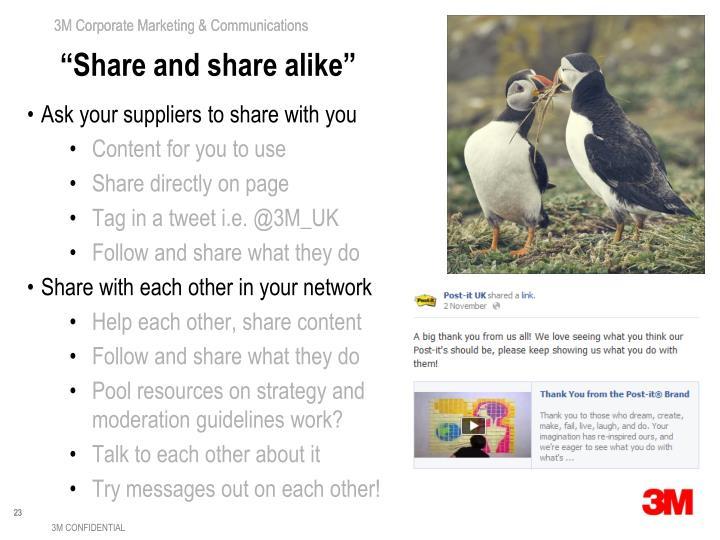"""""""Share and share alike"""""""