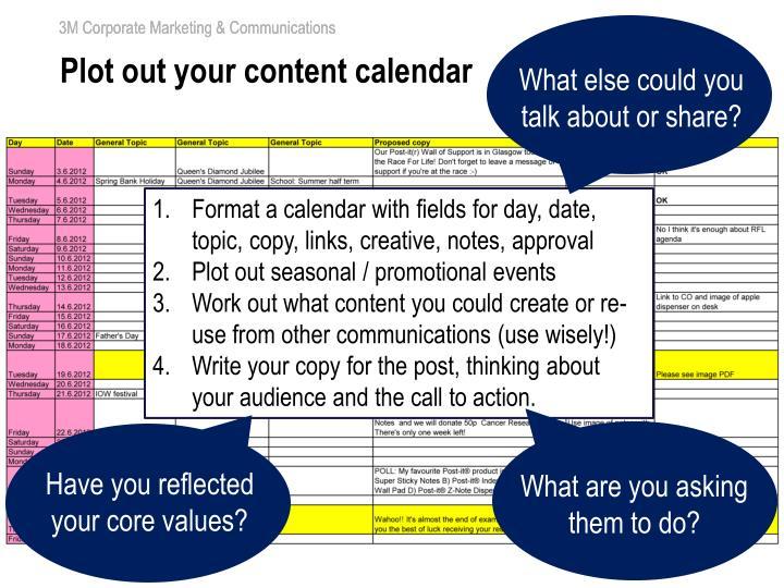 Plot out your content calendar