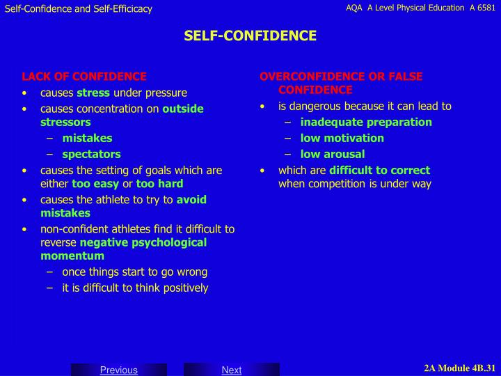 OVERCONFIDENCE OR FALSE CONFIDENCE
