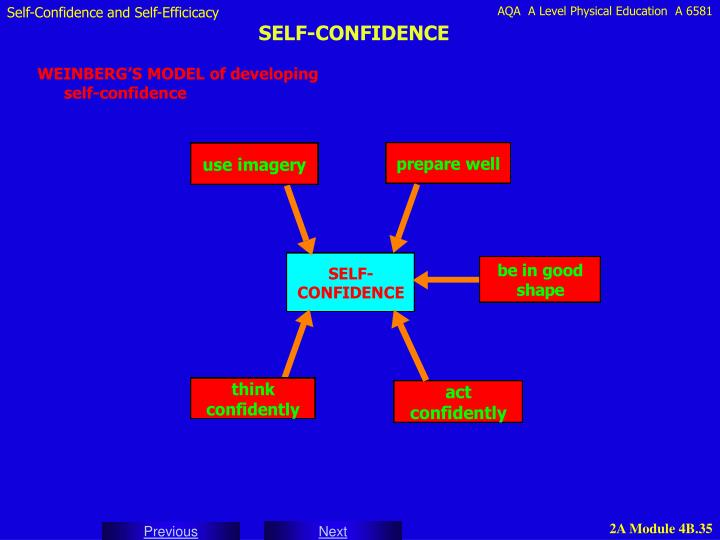WEINBERG'S MODEL of developing self-confidence