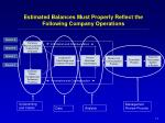 estimated balances must properly reflect the following company operations1