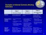 examples of internal controls affecting estimates