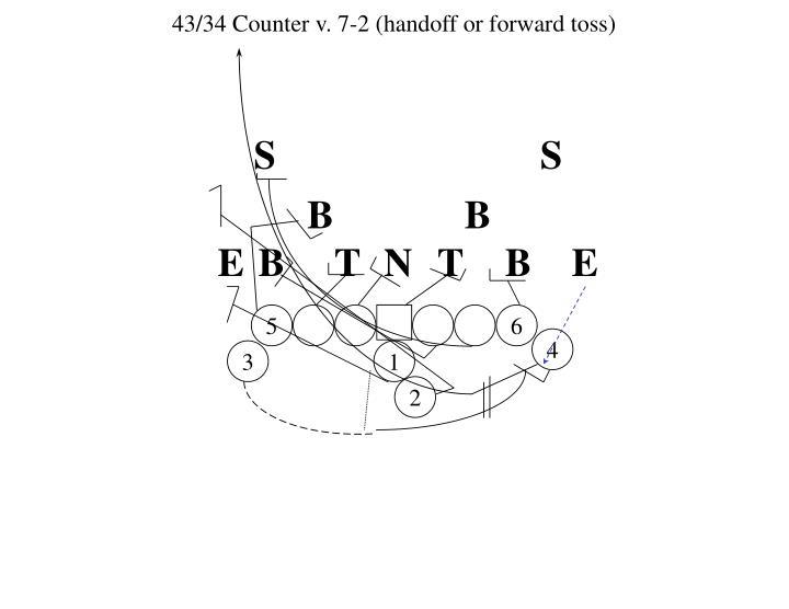 43/34 Counter v. 7-2 (handoff or forward toss)