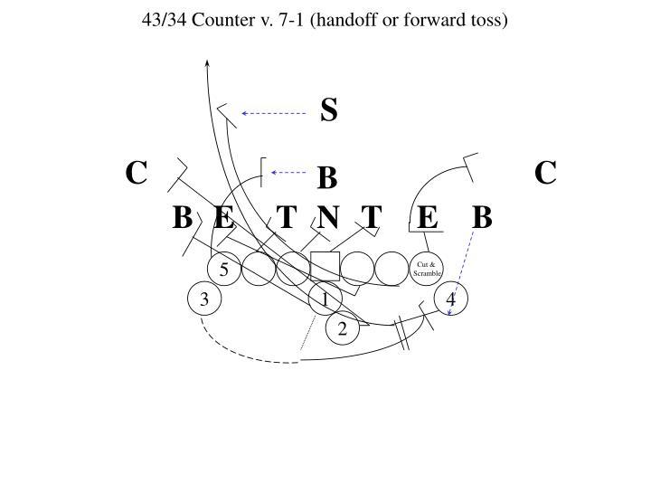 43/34 Counter v. 7-1 (handoff or forward toss)
