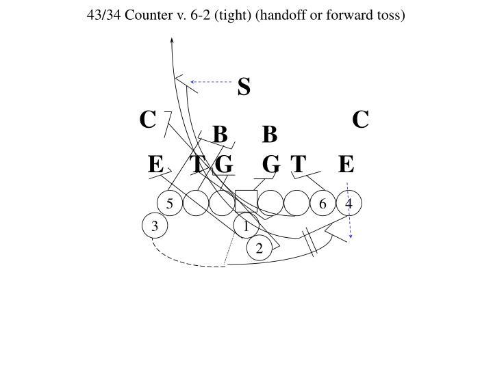 43/34 Counter v. 6-2 (tight) (handoff or forward toss)