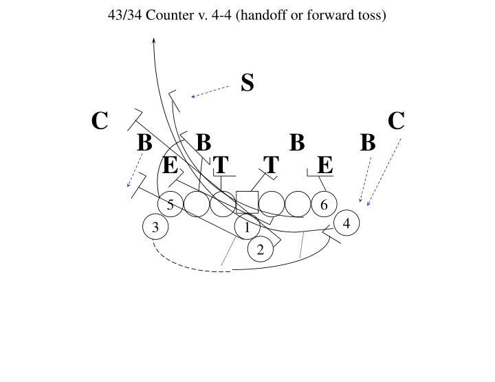 43/34 Counter v. 4-4 (handoff or forward toss)