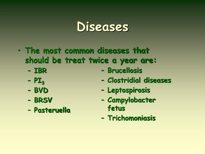 The most common diseases that should be treat twice a year are: