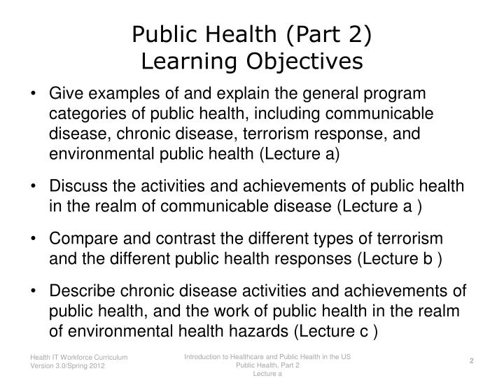 Public health part 2 learning objectives