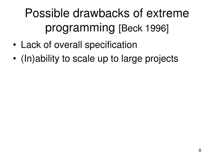 Possible drawbacks of extreme programming